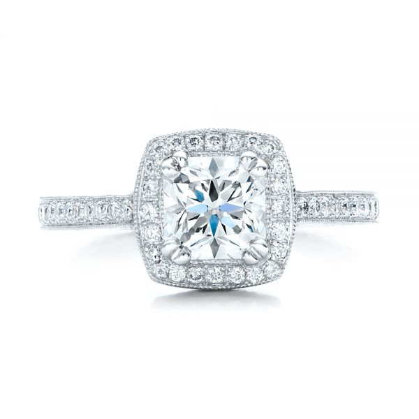 Custom Diamond Halo Engagement Ring - Top View -  100924 - Thumbnail