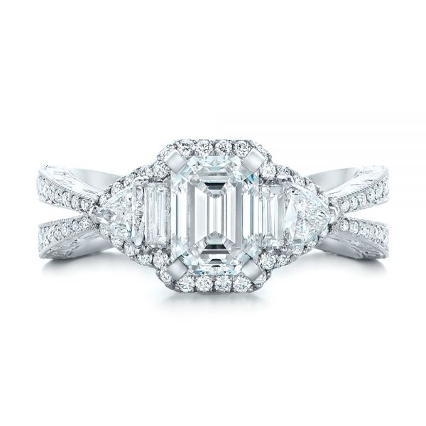 Custom Diamond Halo Engagement Ring - Top View -  102263 - Thumbnail