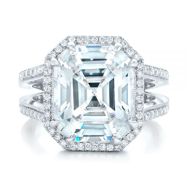 Custom Diamond Halo Engagement Ring - Top View -  102368 - Thumbnail