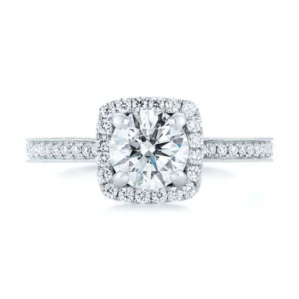 Custom Diamond Halo Engagement Ring - Top View -  102422 - Thumbnail