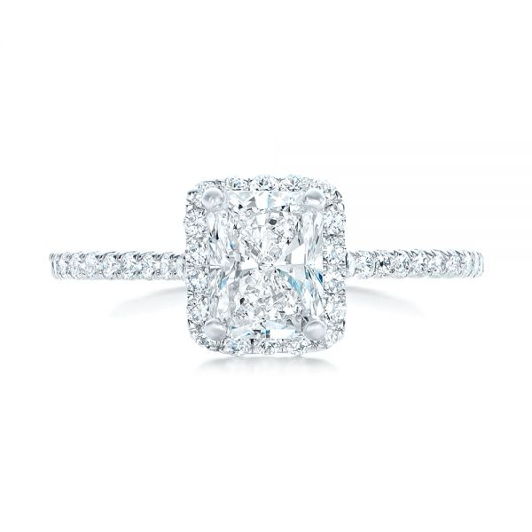 Custom Diamond Halo Engagement Ring - Top View -  102434 - Thumbnail
