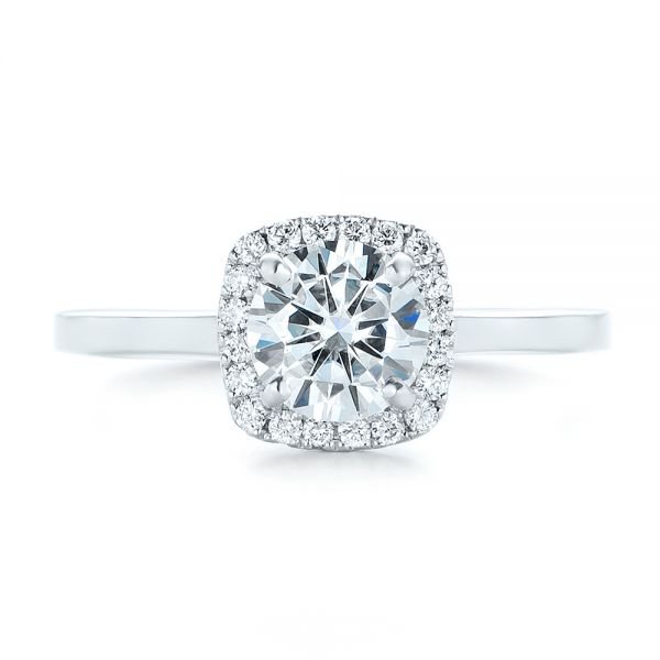 Custom Diamond Halo Engagement Ring - Top View -  102460 - Thumbnail