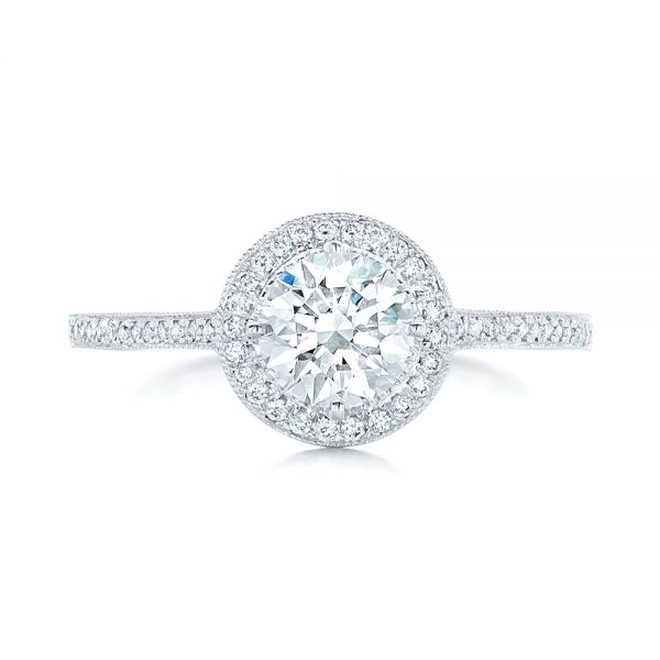 Platinum Platinum Custom Diamond Halo Engagement Ring - Top View -