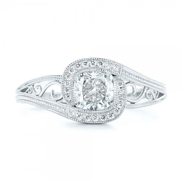 14k White Gold Custom Diamond Halo Engagement Ring - Top View -