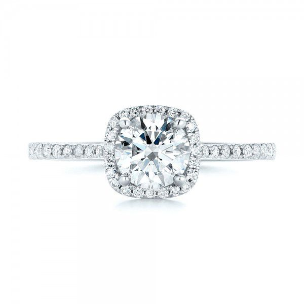 Custom Diamond Halo Engagement Ring - Top View -  103037 - Thumbnail