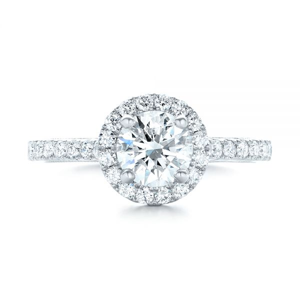 Custom Diamond Halo Engagement Ring - Top View -  103268 - Thumbnail