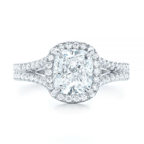 Custom Diamond Halo Engagement Ring - Top View -  103353 - Thumbnail