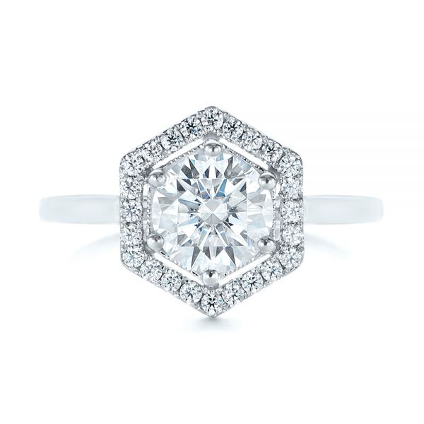 Custom Diamond Halo Engagement Ring - Top View -  103992 - Thumbnail