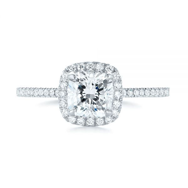 14k White Gold Custom Diamond Halo Engagement Ring - Top View -  104686