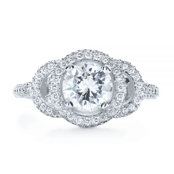 18k White Gold Custom Diamond Halo Engagement Ring - Top View -