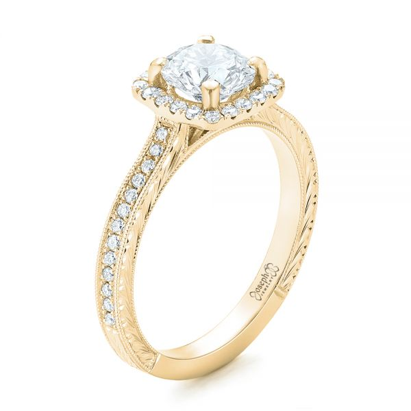 18k Yellow Gold 18k Yellow Gold Custom Diamond Halo Engagement Ring - Three-Quarter View -