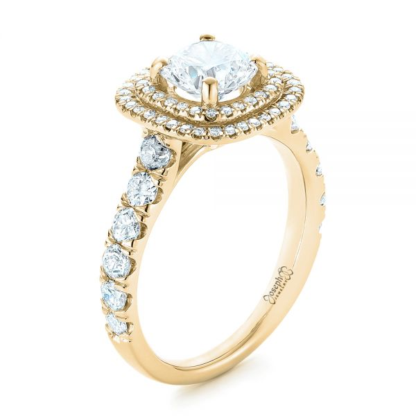 14k Yellow Gold 14k Yellow Gold Custom Diamond Halo Engagement Ring - Three-Quarter View -