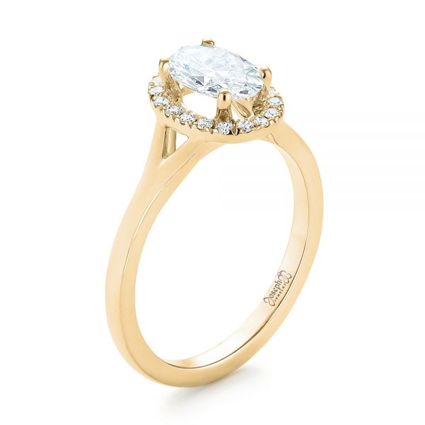 14k Yellow Gold 14k Yellow Gold Custom Diamond Halo Engagement Ring - Three-Quarter View -  103413