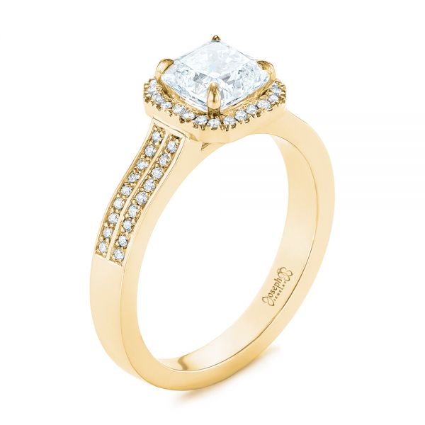 14K Yellow Gold Custom Diamond Halo Engagement Ring - Three-Quarter View -  104070 - Thumbnail
