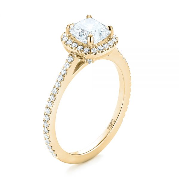 14k Yellow Gold 14k Yellow Gold Custom Diamond Halo Engagement Ring - Three-Quarter View -  104686