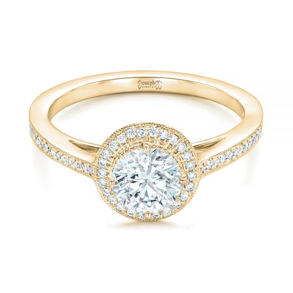 18k Yellow Gold 18k Yellow Gold Custom Diamond Halo Engagement Ring - Flat View -