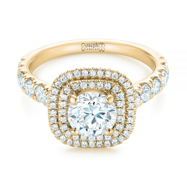 14k Yellow Gold 14k Yellow Gold Custom Diamond Halo Engagement Ring - Flat View -