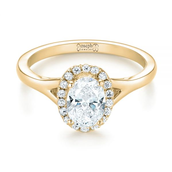 14k Yellow Gold 14k Yellow Gold Custom Diamond Halo Engagement Ring - Flat View -  103413