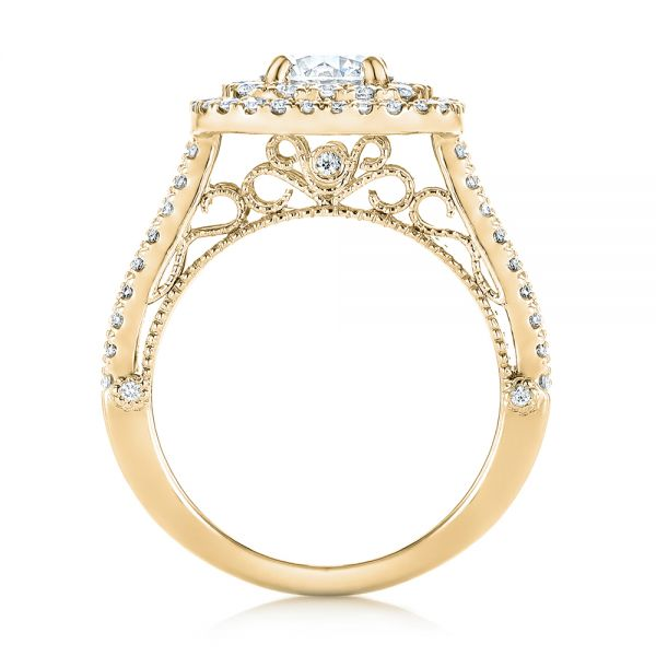 18k Yellow Gold 18k Yellow Gold Custom Diamond Halo Engagement Ring - Front View -  103223