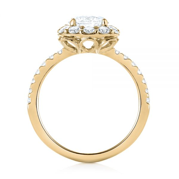 18K Yellow Gold Custom Diamond Halo Engagement Ring - Front View -  103588 - Thumbnail