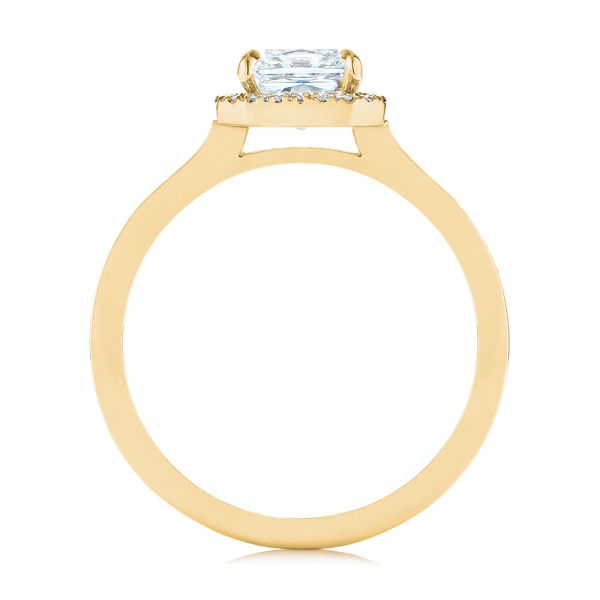 14K Yellow Gold Custom Diamond Halo Engagement Ring - Front View -  104070 - Thumbnail