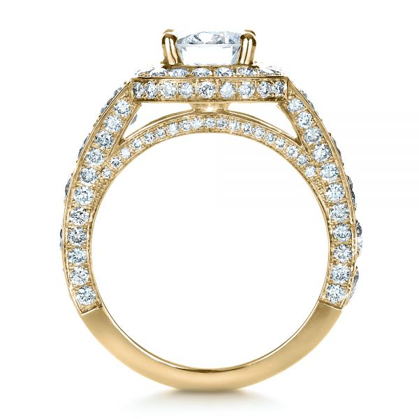 18k Yellow Gold 18k Yellow Gold Custom Diamond Halo Engagement Ring - Front View -