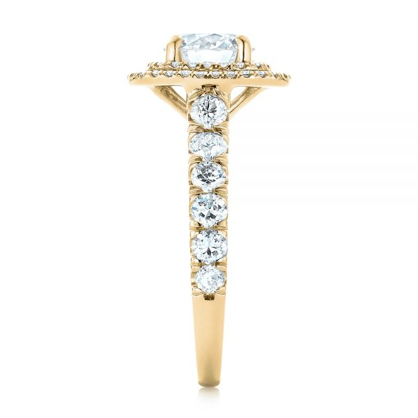 14k Yellow Gold 14k Yellow Gold Custom Diamond Halo Engagement Ring - Side View -