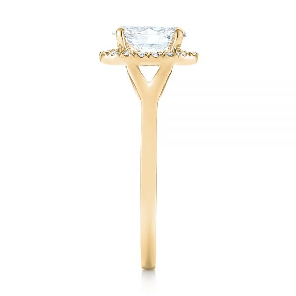 14k Yellow Gold 14k Yellow Gold Custom Diamond Halo Engagement Ring - Side View -  103413