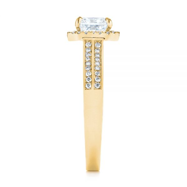 14K Yellow Gold Custom Diamond Halo Engagement Ring - Side View -  104070 - Thumbnail