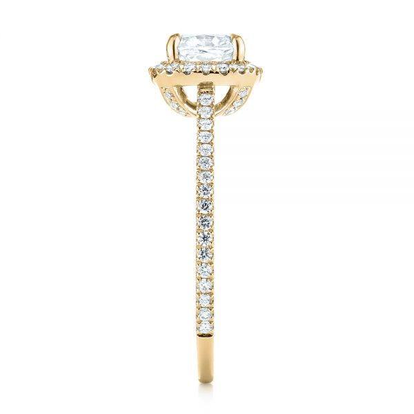 14k Yellow Gold 14k Yellow Gold Custom Diamond Halo Engagement Ring - Side View -  104686