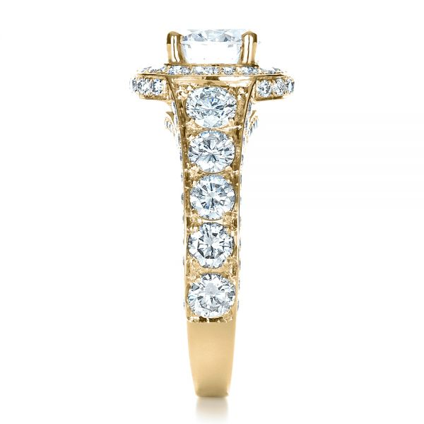 18k Yellow Gold 18k Yellow Gold Custom Diamond Halo Engagement Ring - Side View -