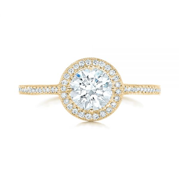 18k Yellow Gold 18k Yellow Gold Custom Diamond Halo Engagement Ring - Top View -