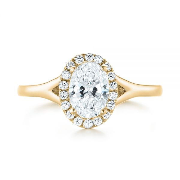 14k Yellow Gold 14k Yellow Gold Custom Diamond Halo Engagement Ring - Top View -  103413