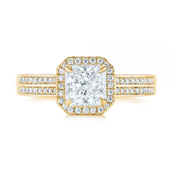 14K Yellow Gold Custom Diamond Halo Engagement Ring - Top View -  104070 - Thumbnail