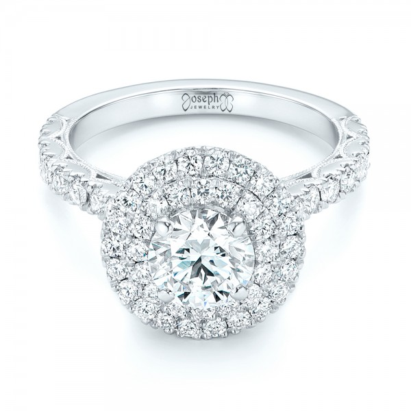 Custom Diamond Halo Engagement Ring - Laying View