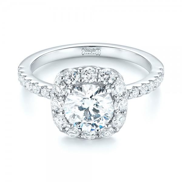 Custom Diamond Halo Engagement Ring - Laying View