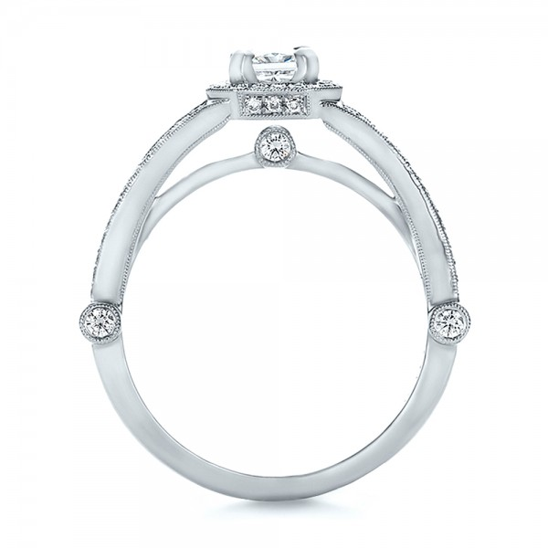 Custom Diamond Halo Engagement Ring - Front View -  100651 - Thumbnail