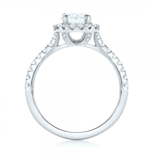 Custom Diamond Halo Engagement Ring - Finger Through View