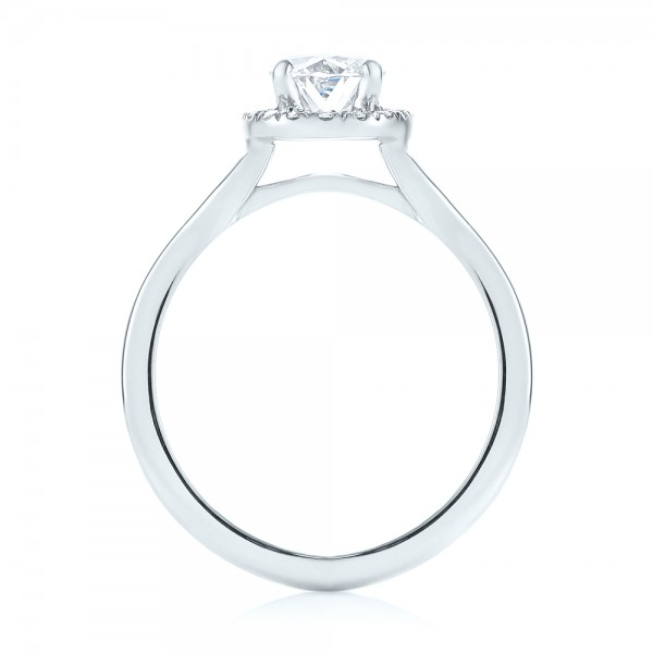 Custom Diamond Halo Engagement Ring - Finger Through View