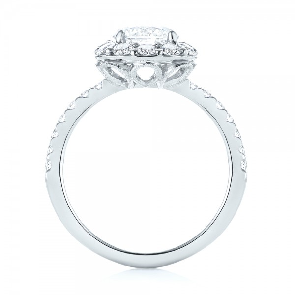 Custom Diamond Halo Engagement Ring - Front View -  103588 - Thumbnail