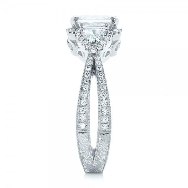 Custom Diamond Halo Engagement Ring - Side View