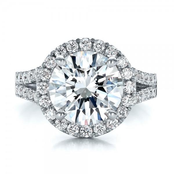Custom Diamond Halo Engagement Ring