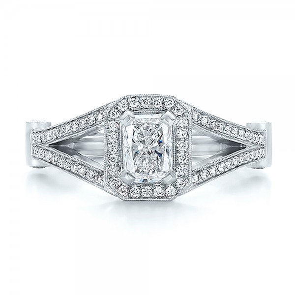 Custom Diamond Halo Engagement Ring - Top View -  100651 - Thumbnail