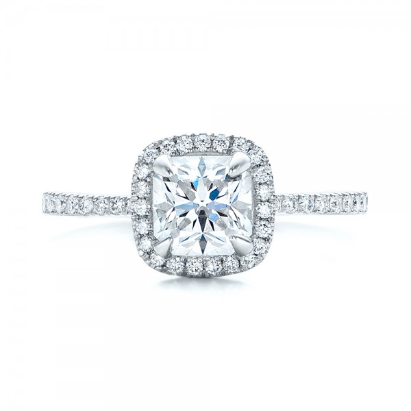 Custom Diamond Halo Engagement Ring - Top View