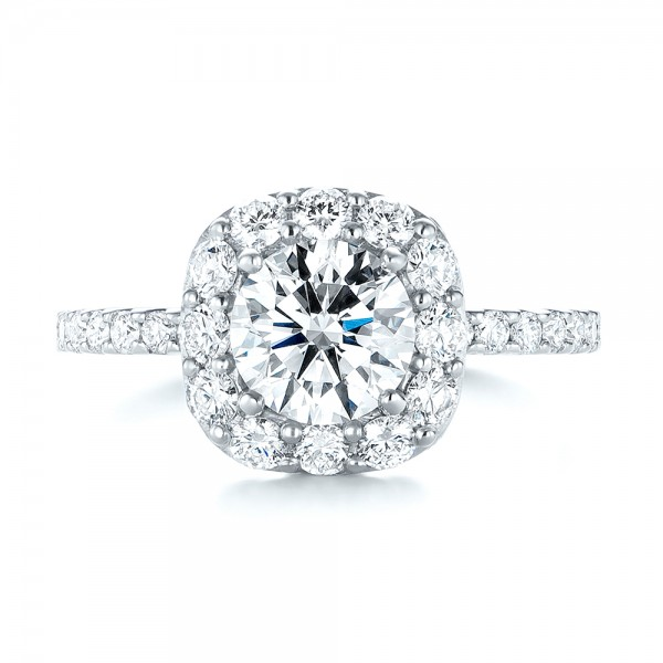 Custom Diamond Halo Engagement Ring - Top View -  103588 - Thumbnail