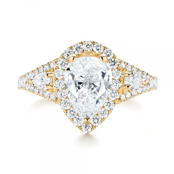 Custom Diamond Halo Engagement Ring - Top View