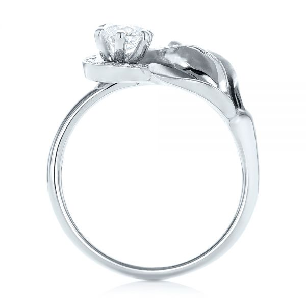 14k White Gold Custom Diamond Halo Lily Engagement Ring - Front View -