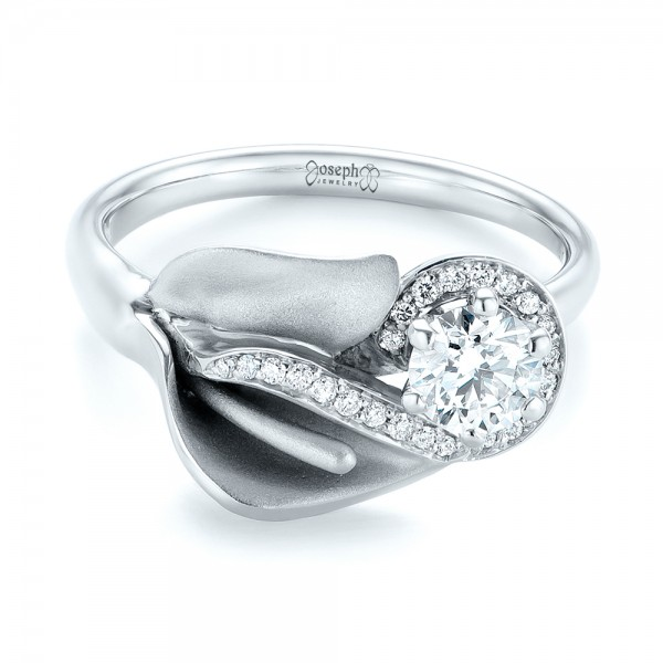 Custom Diamond Halo Lily Engagement Ring - Laying View