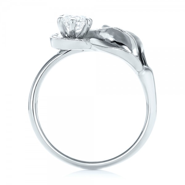 Custom Diamond Halo Lily Engagement Ring - Finger Through View