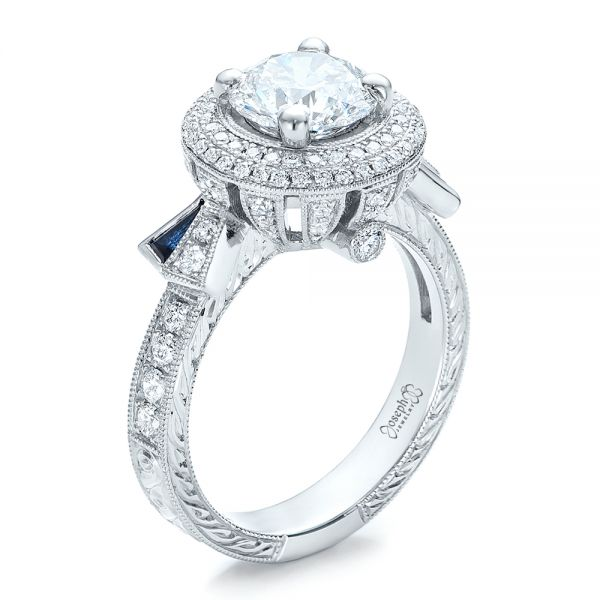 Custom Diamond Halo and Blue Sapphire Engagement Ring - Image